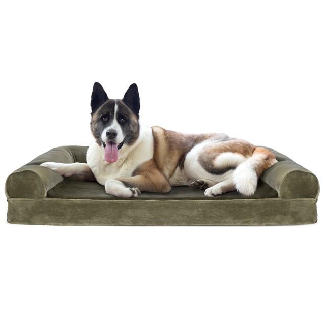 FurHaven Fur & Velvet Cooling Gel Sofa Pet Bed