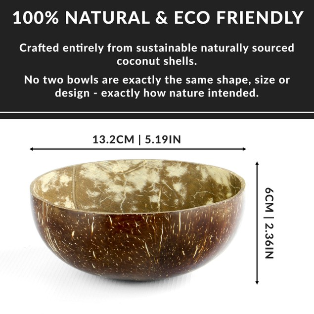 Pack of 2 Natural Coconut Bowls   MandW