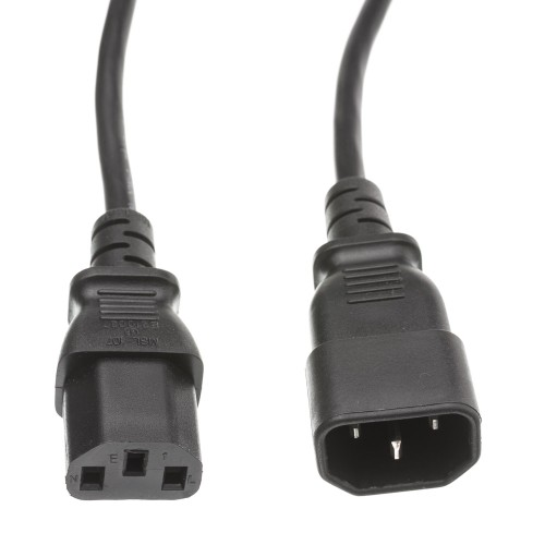 Computer / Monitor Power Extension Cord, Black, 12 foot