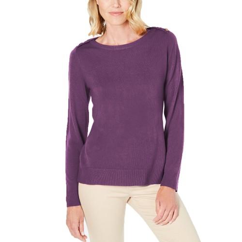 Karen Scott Women's Petite Button-Shoulder Sweater Purple Size Petite