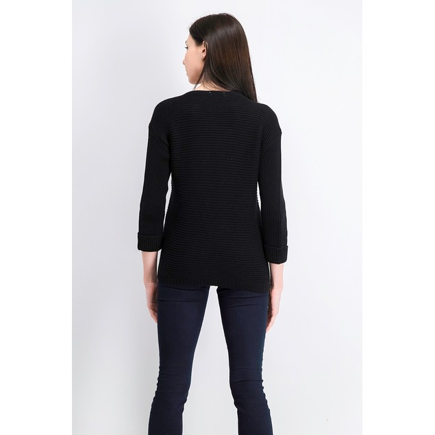 Charter Club Women's Petite Cotton Ribbed Cuffed Sweater Black Size 44