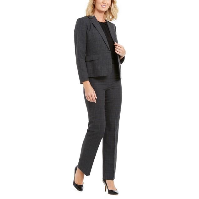 Le Suit Women's Plaid Single-Button Pants Suit Gray Size 14