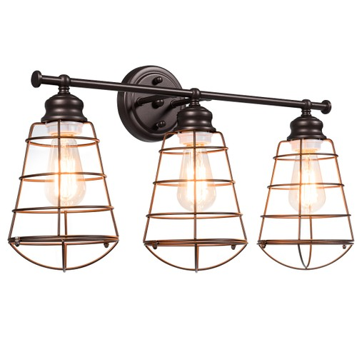 Costway 3-Light Vanity Light Metal Wire Cage Wall Sconce Bathroom Fixture A
