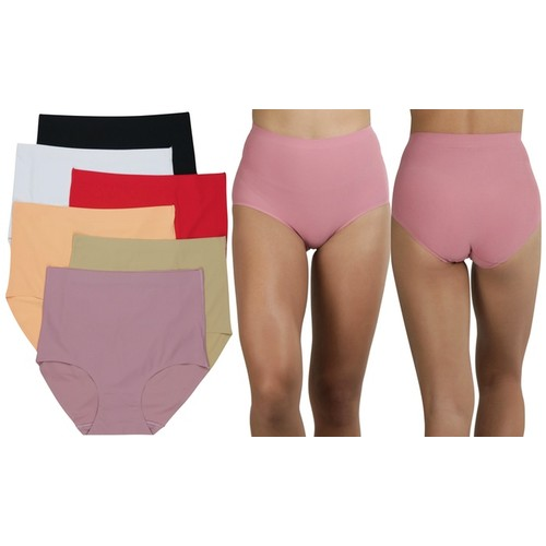 (6-Pack) ToBeInStyle Women's Slick and Slimming High Waisted Laser Cut Panties