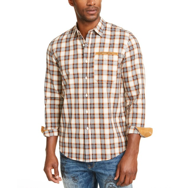 Sean John Men's Herringbone Woven Plaid Shirt Brown Size XXXX-Large