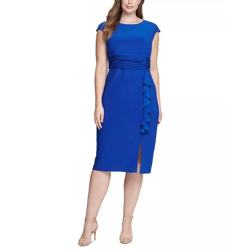 Jessica Howard Women's Ruffled Midi Dress Blue Size Petite Small