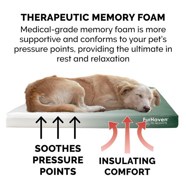 FurHaven Deluxe Memory Foam Oxford Indoor/Outdoor Pet Bed for Dogs & Cats