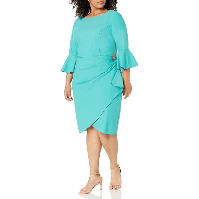 Alex Evenings Women's Short Slimming Sheath Dress with Bell Sleeves, 20w,