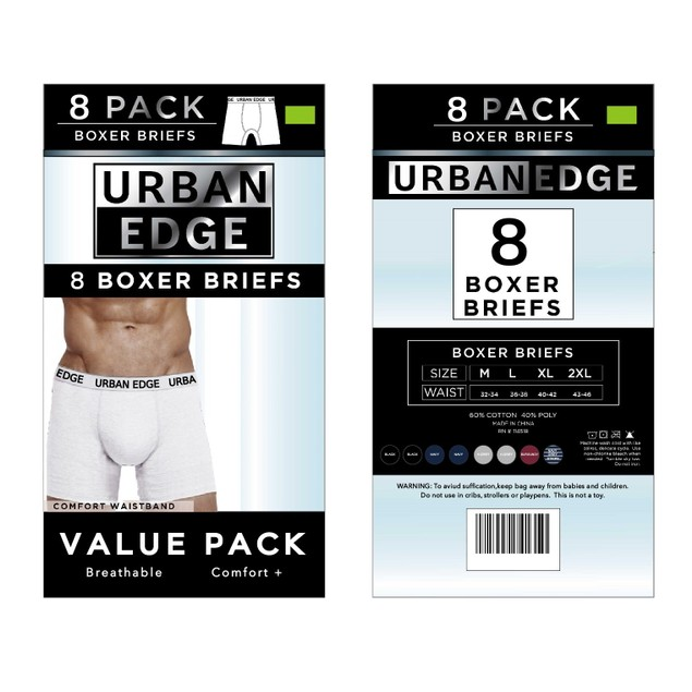 8 Pack: Men's Urban Edge Underwear Boxer Briefs