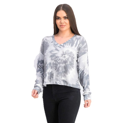 Grave Fame Juniors' Cozy Ribbed Tie-Dyed Top Gray Size Small