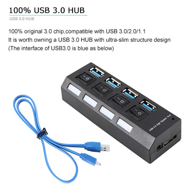 4 Ports Powered USB 3.0 HUB Compact External AC Power Adapter