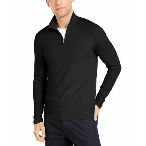 Alfani Men's Lightweight Ribbed Quarter-Zip Pullover Black Size Extra Large
