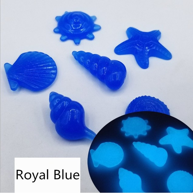 100Pcs Fish Tank Artificial Luminous Stone, Marine Shell, Starfish And Conch Shape, Luminous Color Fluorescent Setting Stone