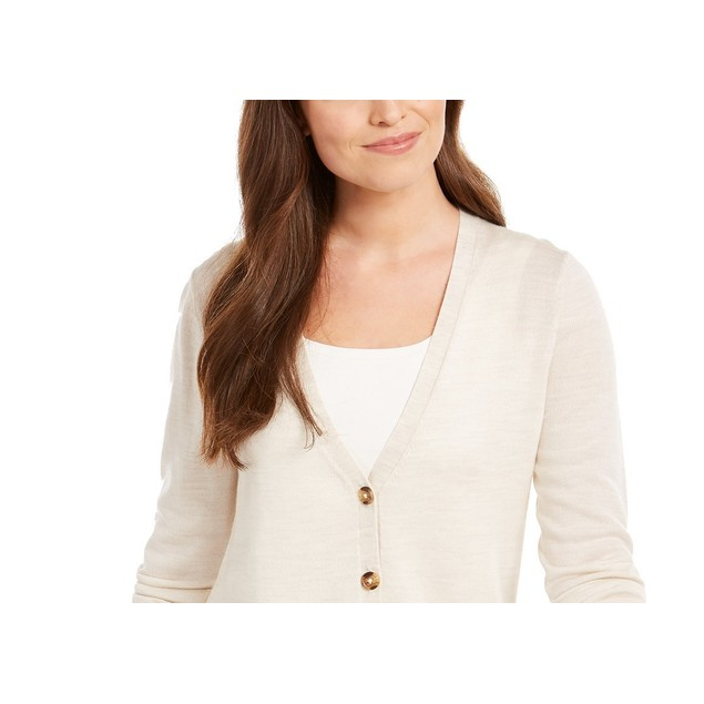 Charter Club Women's Merino Wool V-Neck Cardigan Beige Size Medium