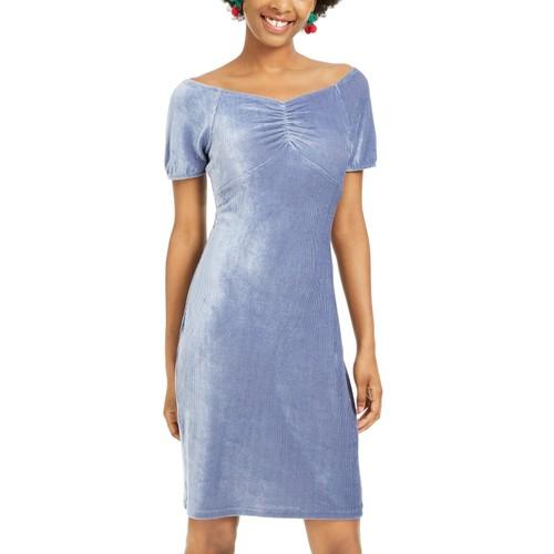 Ultra Flirt Juniors' Corduroy Ruched Bodycon Dress Blue Size Extra Large