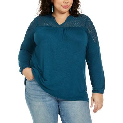 Style & Co Women's Plus Size Crochet-Trim Top Blue Size XXX-Large