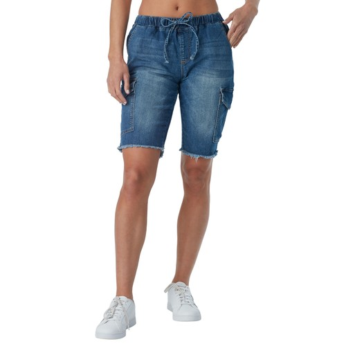 Almost famous denim cargo pocket bermuda short with mock drawstring elasticized waist