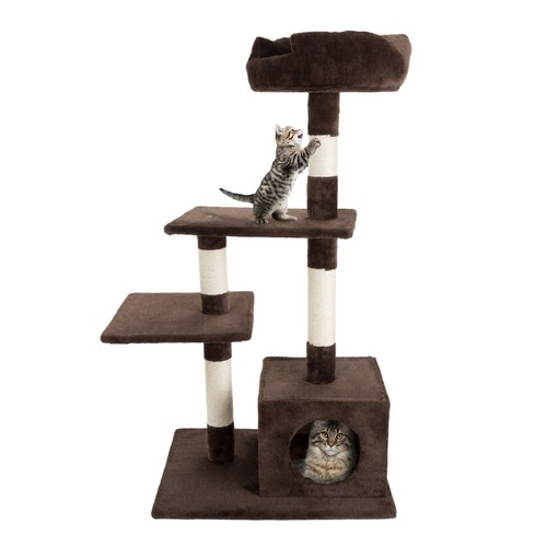 4 Tier Cat Tree- Plush Multi-Level Cat Tower with Sisal Scratching