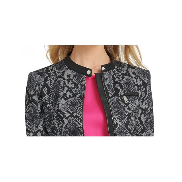 DKNY Women's Snake-Embossed Faux-Leather-Trim Jacket Gray Size 6