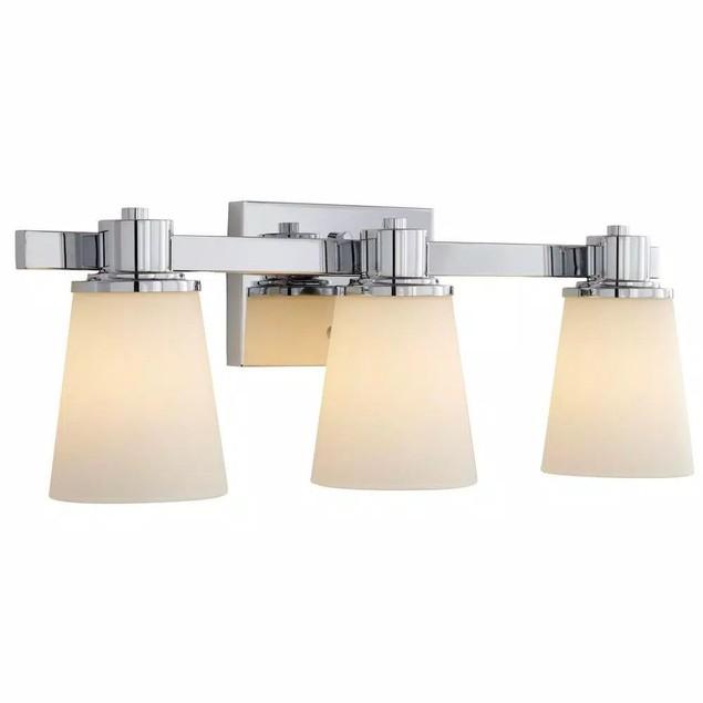 Home Decorators Collection Chrome Bath Vanity 3-Light W/ Bell Shape Etch,
