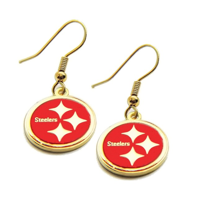 Pittsburgh Steelers Glitter Sparkle Dangle Logo Earring Set Charm Gift Red