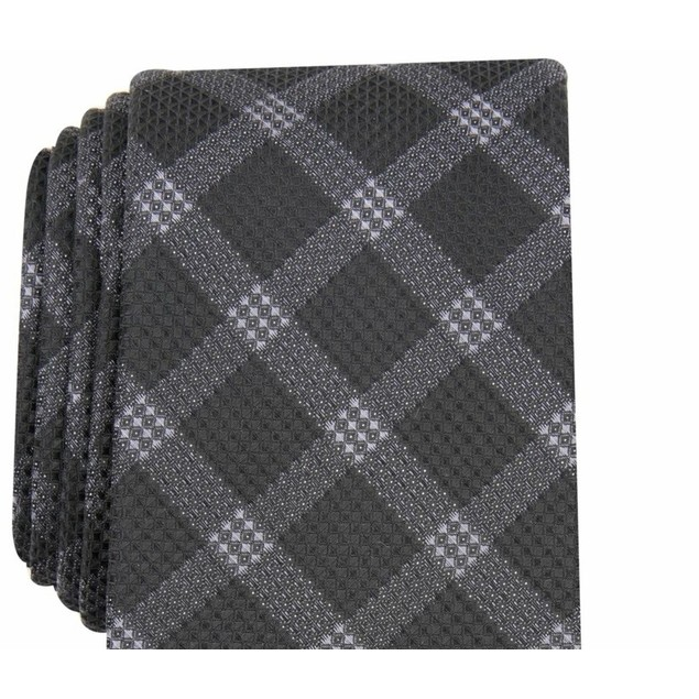 Alfani Men's Check Tie Black Size Regular