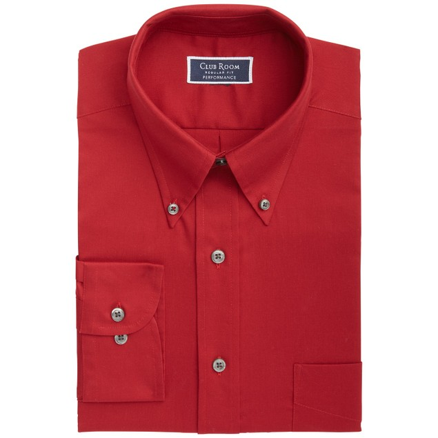 Club Room Classic/Regular-Fit Stretch Solid Dress Shirt Red 16.5x32-33