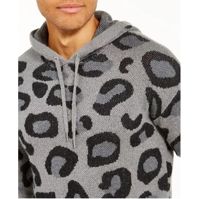 INC International Concepts Men's Leopard Sweater Hoodie Gray Size XX-Large