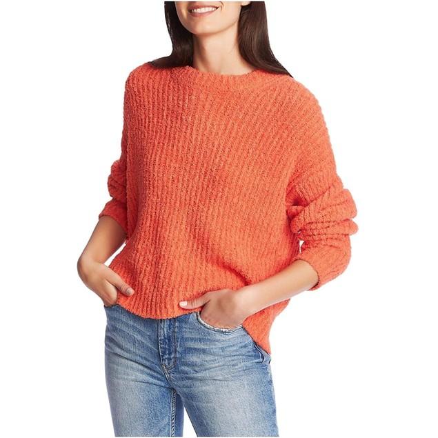 1.STATE Women's Mock Neck Terry Yarn Sweater Papaya Med Orange Size X-Small