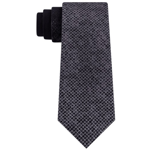 DKNY Men's Slim Ombre Abstract Check Tie Black Size Regular