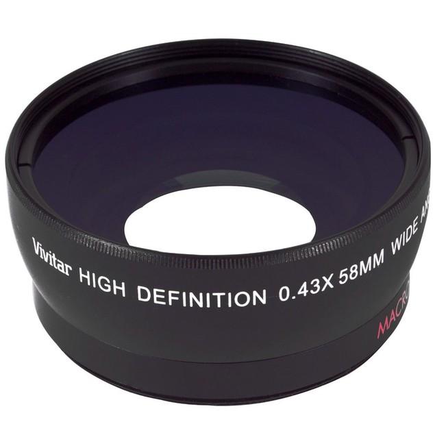 Vivitar 58mm 0.43X Wide Angle Lens + Vivitar 58mm 2.2X Telephoto Lens + 100 Lens Tissue Sheet + Dust Blower + Lens Cleaner + 3pc Cleaning Kit