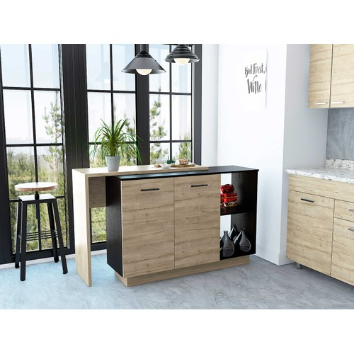 Aspen Kitchen Island with 2 uncovered shelves and 1 drawer with 3 divisions