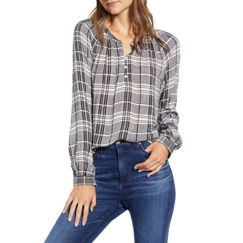 Lucky Women's Brand Jessica Plaid Popover Blouse Black Size Medium