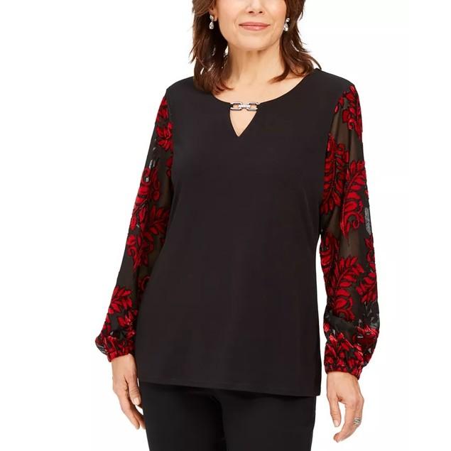 JM Collection Women's Embellished Velvet Sleeve Top Black Size X-Small