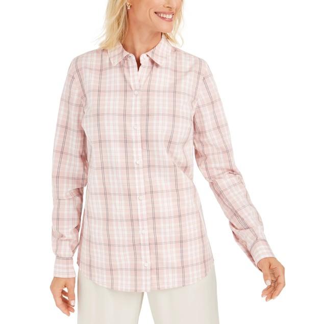 Charter Club Women's Cotton Plaid Shirt Pink Size Medium