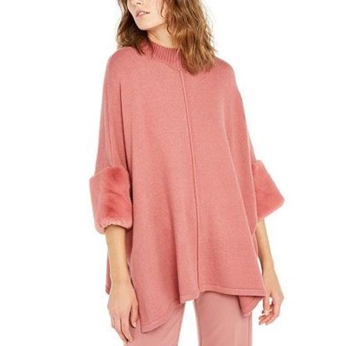 Alfani Women's Faux Fur Cuff Poncho Pink Size XX-Large
