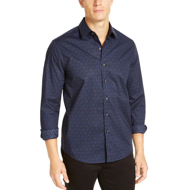 Tasso Elba Men's Stretch Paisley Print Woven Shirt Navy Size Extra Large