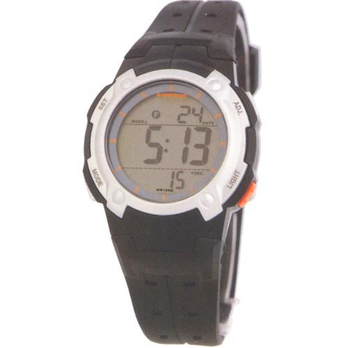 Dunlop Digital Watch for Girls DUN96L07 Silver/Black Plastic Case Rubber Strap