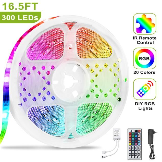5M/16.5ft 300 RGB LEDs Strip Lights IP65 Waterproof