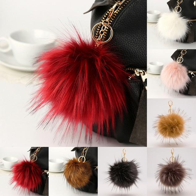 14cm Large Fur Fluffy Pom Pom Ball Handbag Car Pendant Keyring Keychain