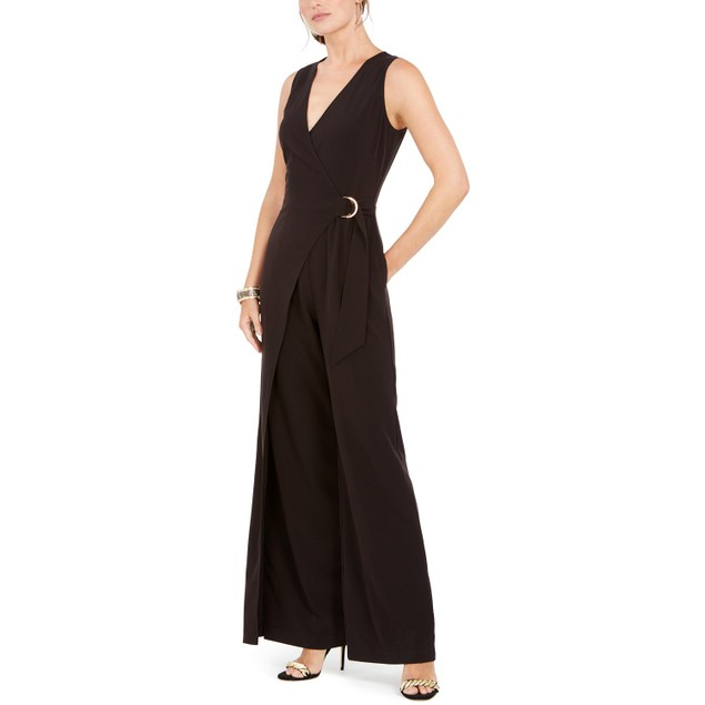 Vince Camuto Women's D-Ring Belted Wrap Jumpsuit Black Size 2