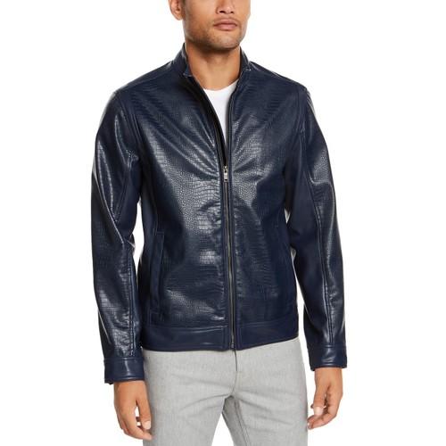 Alfani Men's Faux-Leather Jacket Blue Size Small