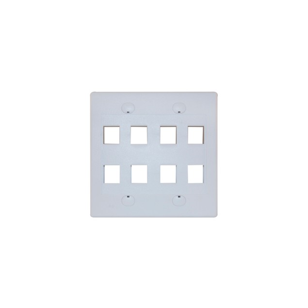 Keystone Wall Plate, White, 8 Hole, Dual Gang
