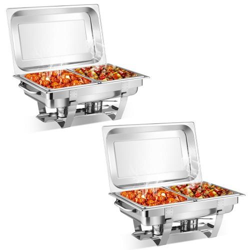 2 Packs Full Size Chafing Dish 9 Quart Stainless Steel Rectangular Chafer B
