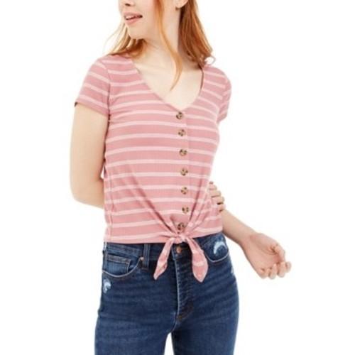 Pink Rose Juniors' Ribbed Tie-Front Top Purple Size Medium