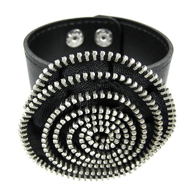 Black Vinyl Spiral Zipper Strip Wristband Mens Cuff Bracelets