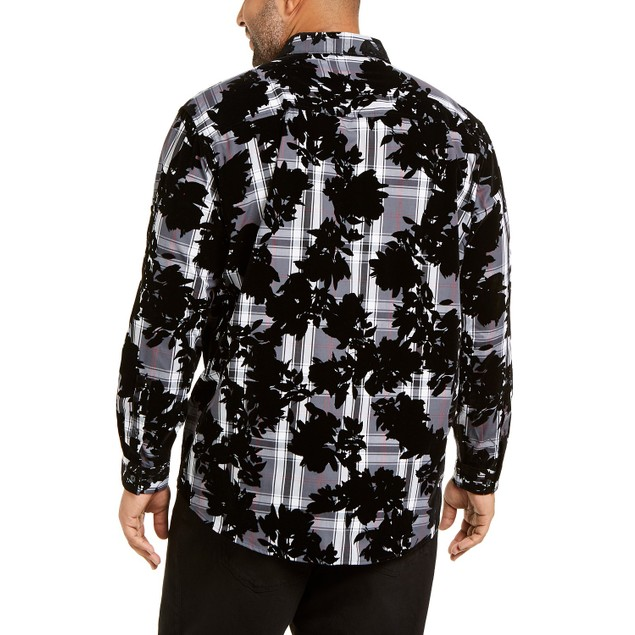INC International Concepts Men's Flocked Plaid Shirt Black Size Medium