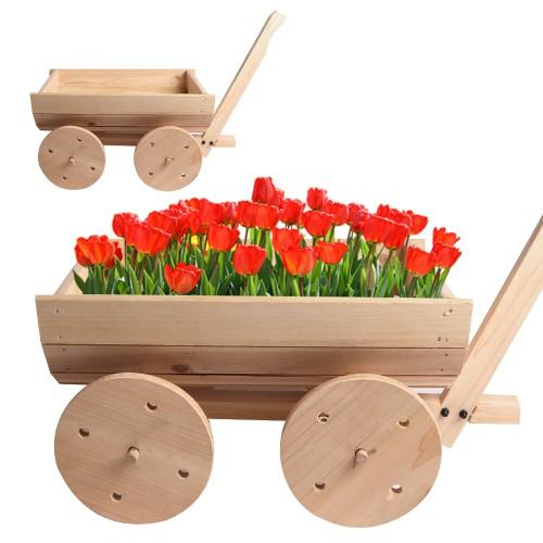 BIGTREE Flower Planter Pot Wooden Wagon Cart Flower Box Display Natural