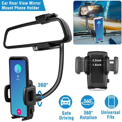 Rear View Mirror Car Mount Holder Universal 360°Rotation Phone Stand