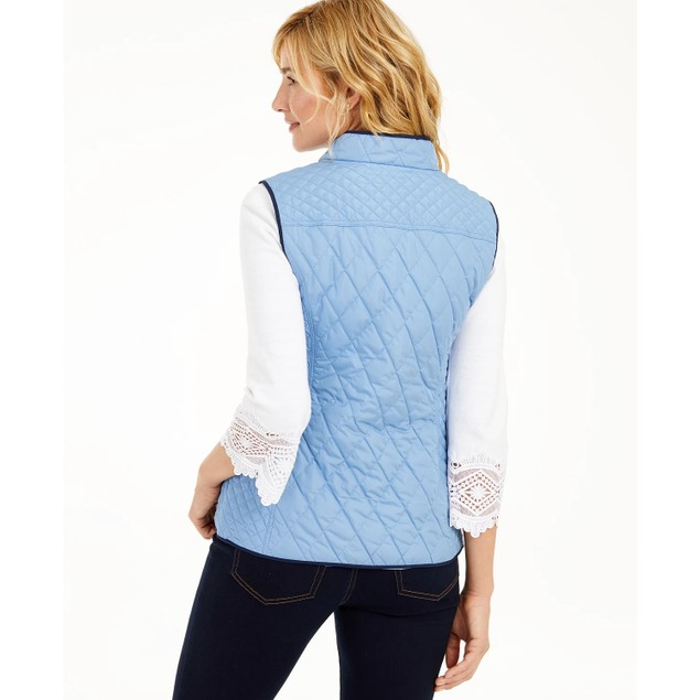 Charter Club Women's Quilted Stand-Collar Vest Med Blue Size Extra Small